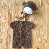 Аксессуары для фотосессии ручной работы. Ярмарка Мастеров - ручная работа Комплект для новорожденного Медвежонок Реквизит для фотосессии. Handmade.