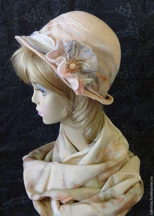 """Шляпы ручной работы. Ярмарка Мастеров - ручная работа. Купить Шляпка """"Нежное цветение"""".. Handmade. Бежевый, шелковые волокна"""
