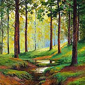 Картины и панно handmade. Livemaster - original item Landscape Painting Vladimir Chernov Through the pines. Handmade.