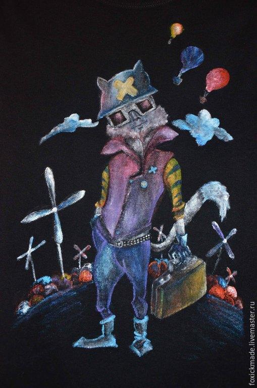 """Футболки, майки ручной работы. Ярмарка Мастеров - ручная работа. Купить Майка с росписью """"The Urban Cat"""". Handmade. Разноцветный"""