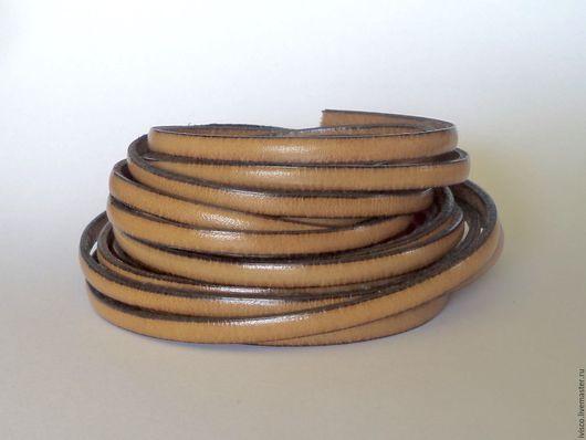 Для украшений ручной работы. Ярмарка Мастеров - ручная работа. Купить Кожаный шнур 5х2мм светло-коричневый матовый. Handmade.