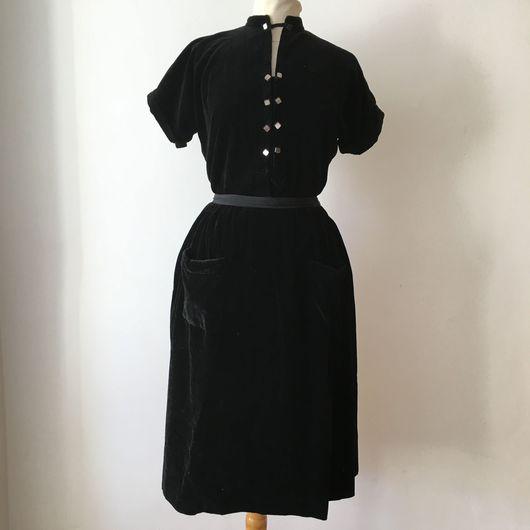 Одежда. Ярмарка Мастеров - ручная работа. Купить Бархатное винтажное платье, 1940-е гг. большой размер. Handmade. Платье из бархата