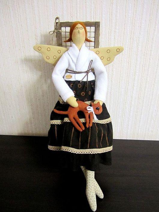 Куклы Тильды ручной работы. Ярмарка Мастеров - ручная работа. Купить Зиночка и Мурзик. Handmade. Текстильная кукла, коричневый, мохер