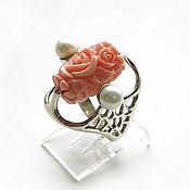 """Украшения handmade. Livemaster - original item Коралл. """"Нежность ангела"""" кольцо с резным кораллом и жемчугом. Handmade."""