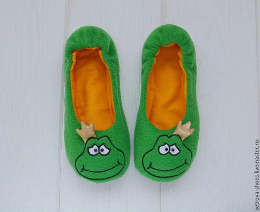 """Обувь ручной работы. Ярмарка Мастеров - ручная работа. Купить Домашние балетки """"Лягуха"""". Handmade. Зеленый, лягушка, домашние тапочки"""