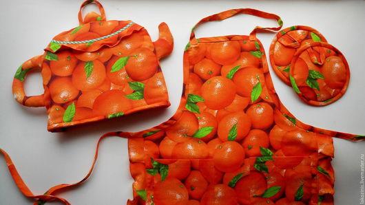 Кухня ручной работы. Ярмарка Мастеров - ручная работа. Купить Апельсиновый комплект для кухни!. Handmade. Оранжевый, прихватки для кухни