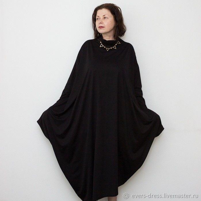 Платье свободного кроя, чёрное платье, длинное платье, платье большого размера, платье бохо, платье для полных, платье с длинным рукавом, купить платье