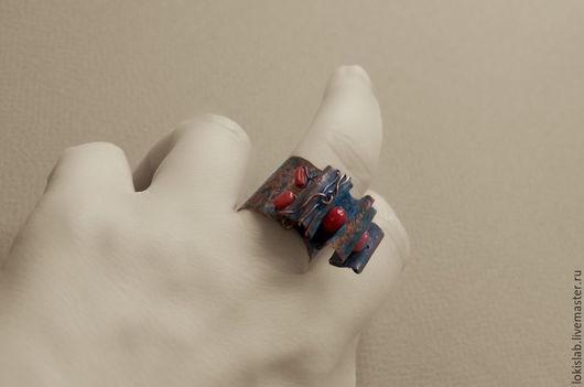 Кольца ручной работы. Ярмарка Мастеров - ручная работа. Купить КОРАЛЛИУМ - кольцо из меди с кораллом, модерн, ар нуво. Handmade.