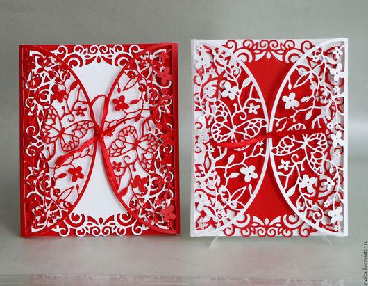 """Свадебные аксессуары ручной работы. Ярмарка Мастеров - ручная работа. Купить Приглашения на свадьбу """"Бабочки"""". Handmade. Разноцветный, мелованная бумага"""