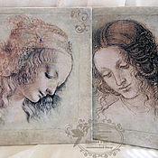 """Картины и панно ручной работы. Ярмарка Мастеров - ручная работа Картины-панно """"Эскизы Леонардо да Винчи"""". Handmade."""