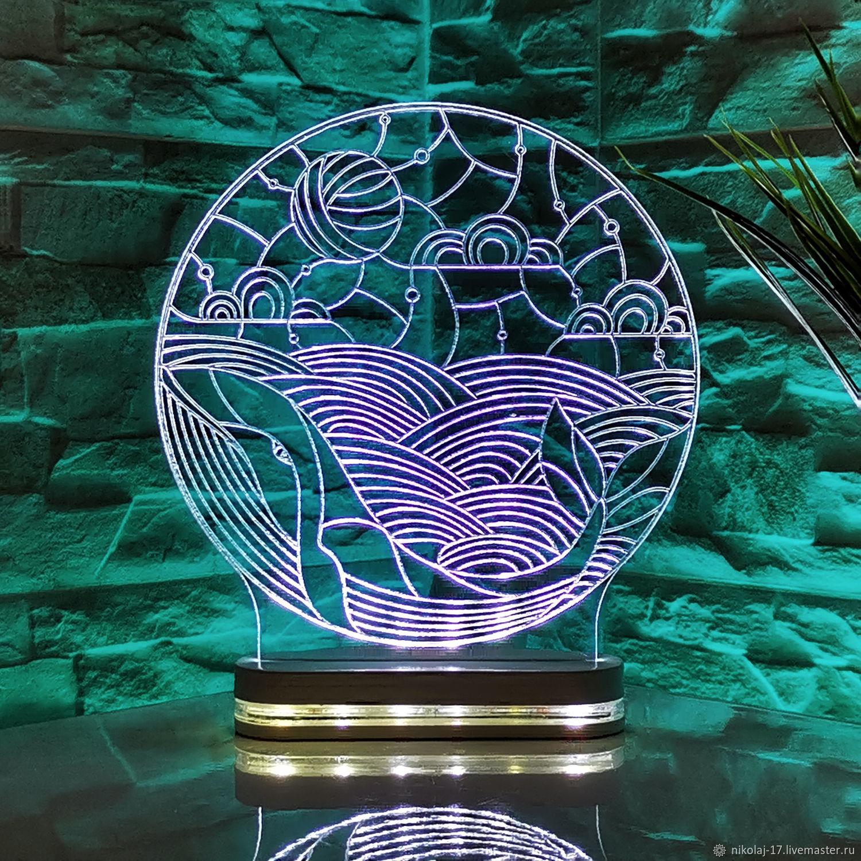 Night light 'whale with a ball' / Lamp / 3D night light, Nightlights, Yaroslavl, Фото №1