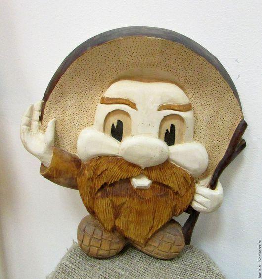 Люди, ручной работы. Ярмарка Мастеров - ручная работа. Купить Настенное панно из липы  старичок-боровичок. Handmade. Настенное панно