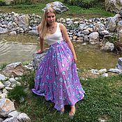 Одежда ручной работы. Ярмарка Мастеров - ручная работа Васильки -шелковая юбка для девушки.. Handmade.