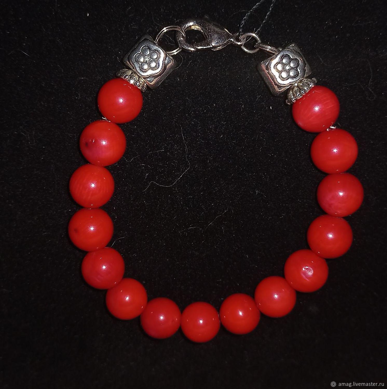 Браслет с натуральным красным кораллом серебро Бали, Браслет из бусин, Москва,  Фото №1