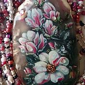 Украшения handmade. Livemaster - original item pendant with painted bead suspension magnoliae dew. Handmade.