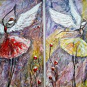 """Картины и панно ручной работы. Ярмарка Мастеров - ручная работа """"Подружки-Феечки"""" рельефная модульная картина. Handmade."""