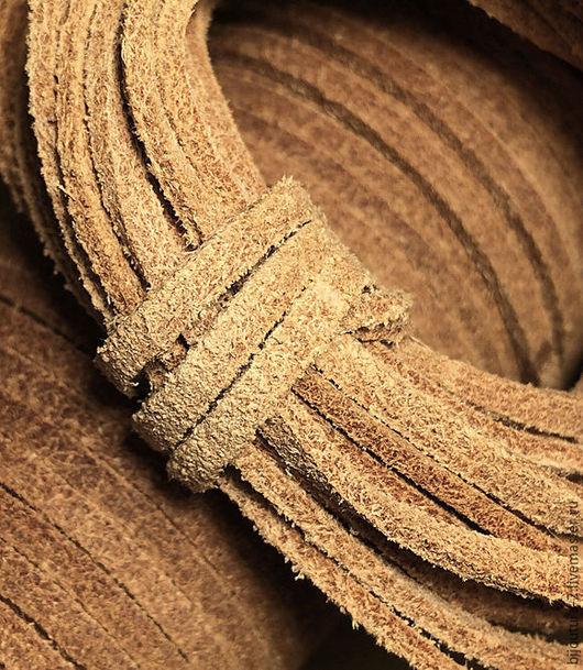 Для украшений ручной работы. Ярмарка Мастеров - ручная работа. Купить Шнур (арт.к24) кожаный 3х2 мм, плоский, неокрашенный. Handmade.