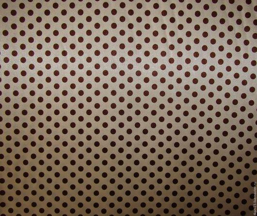 Шитье ручной работы. Ярмарка Мастеров - ручная работа. Купить Атлас стрейч арт.24 АТС-6 (Корея)коричневый горох на св.-бежевом. Handmade.