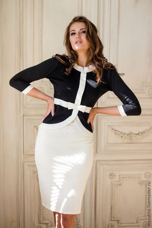 """Костюмы ручной работы. Ярмарка Мастеров - ручная работа. Купить Классический костюм """"Madam"""". Handmade. Чёрно-белый, платье в офис"""