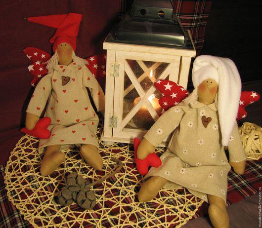 Куклы Тильды ручной работы. Ярмарка Мастеров - ручная работа. Купить Ангелы Сны под Рождество. Handmade. Ярко-красный