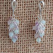 Украшения handmade. Livemaster - original item Earrings with amethyst, aquamarine, rose quartz in 925 silver. Handmade.