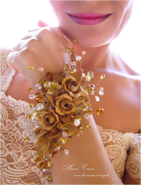 Фото золотого браслета с цветами