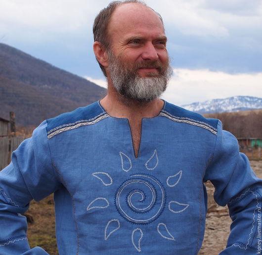 """Для мужчин, ручной работы. Ярмарка Мастеров - ручная работа. Купить Рубаха льняная с вышивкой """"Прохладное солнце"""". Handmade. Голубой"""