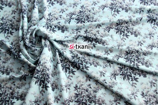 BB34-003 Барби `Нежные цветочки`. Цвет бледно-голубой. 95% п/э, 5%эластан. Китай. Ширина 140см.  Цена: 620руб за 1м.
