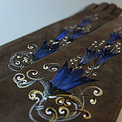 Аксессуары handmade. Livemaster - original item Suede gloves, long silk