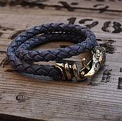 handmade. Livemaster - original item Leather bracelet with Raven. Handmade.
