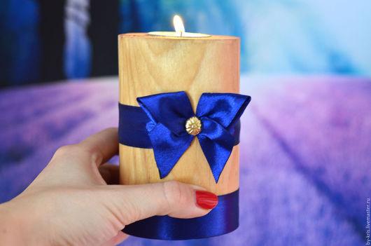 Подсвечники ручной работы. Ярмарка Мастеров - ручная работа. Купить 3 подсвечника из дерева, оригинальный подарок. Handmade. Синий