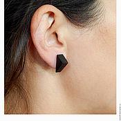 Украшения handmade. Livemaster - original item Triangular earrings made of black wood.. Handmade.