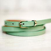 Аксессуары handmade. Livemaster - original item Light green leather belt. Handmade.