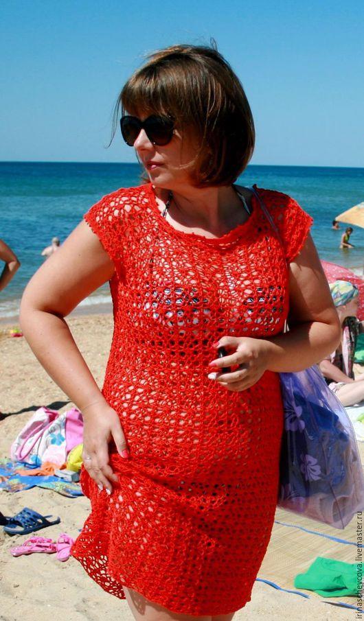 Пляжные платья ручной работы. Ярмарка Мастеров - ручная работа. Купить Туника. Handmade. Коралловый, лето, туника летняя