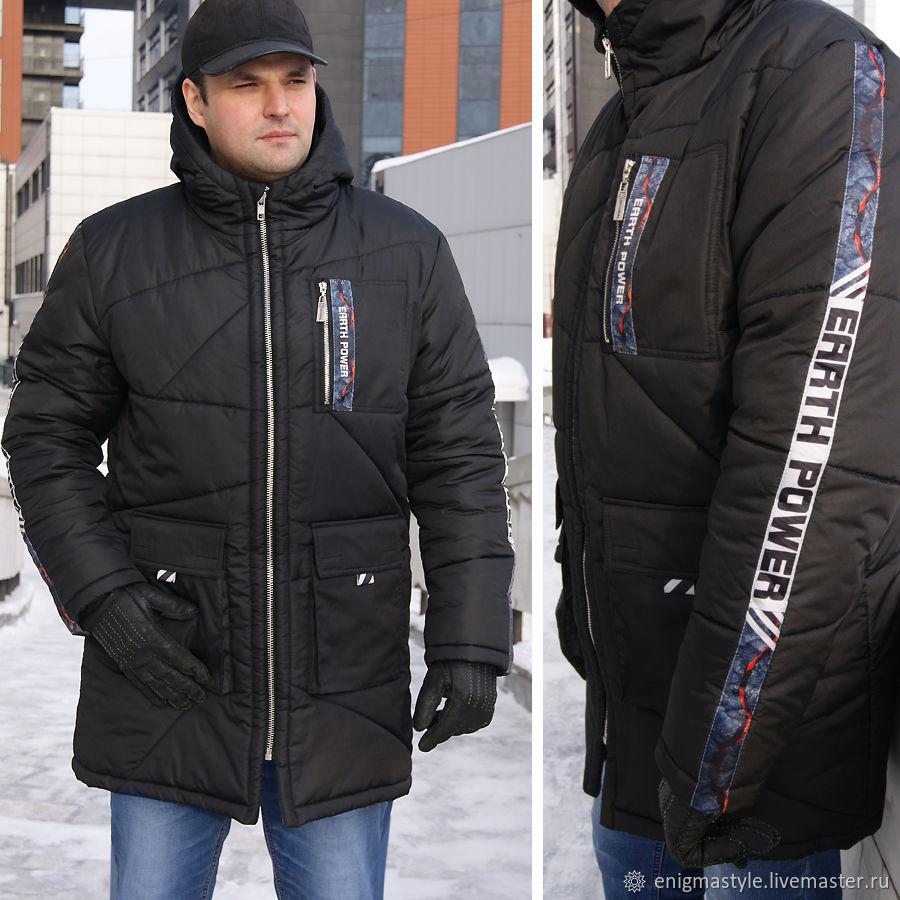 Winter Jacket men, Long black jacket with a hood, Waterproof Jacket, Mens outerwear, Novosibirsk,  Фото №1