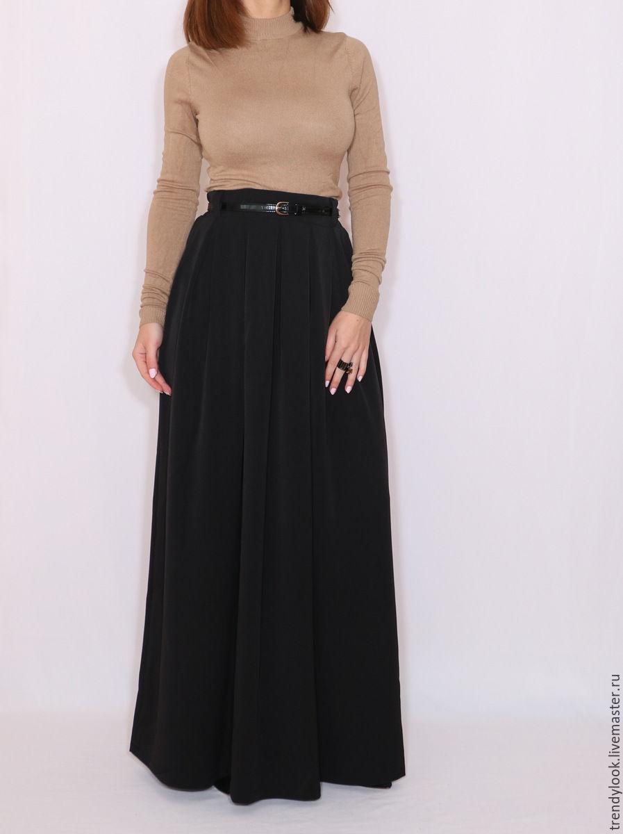 Длинная юбка на черной резинке