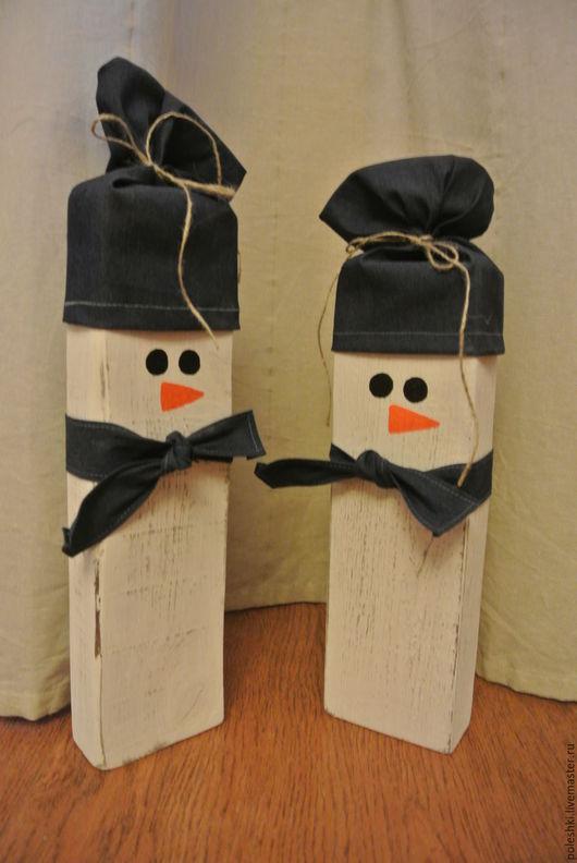 Праздничная атрибутика ручной работы. Ярмарка Мастеров - ручная работа. Купить Снеговик большой деревянный. Handmade. Белый, игрушка из дерева