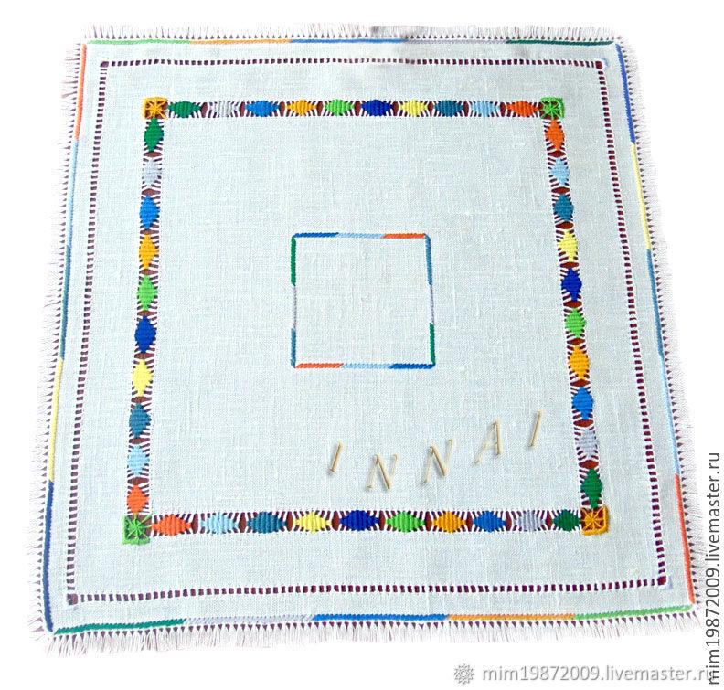 Napkin Game colors blue linen hand embroidery, Swipe, Krasnodar,  Фото №1