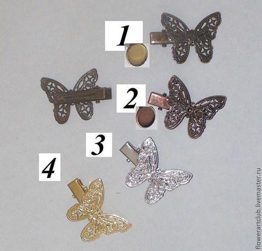 Другие виды рукоделия ручной работы. Ярмарка Мастеров - ручная работа. Купить Основа под заколку бабочка - 4 цвета. Handmade.
