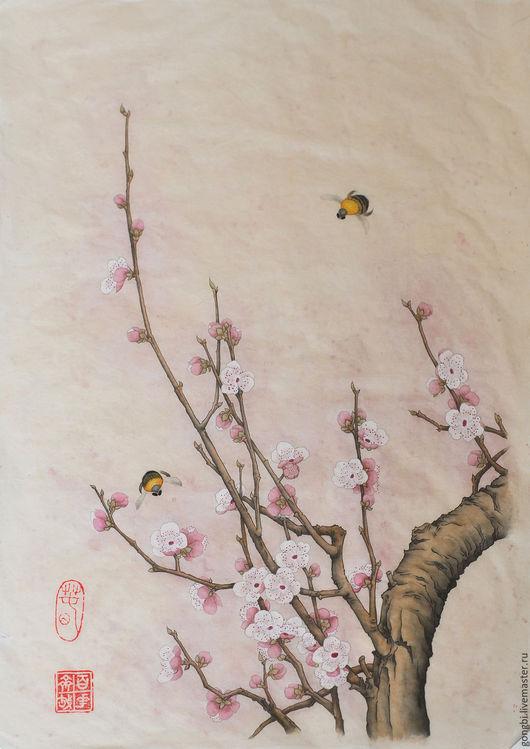 Картины цветов ручной работы. Ярмарка Мастеров - ручная работа. Купить Картина цветущая слива с пчелками в стиле китайской живописи гунби. Handmade.