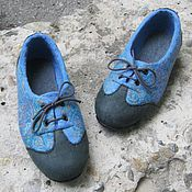 Обувь ручной работы. Ярмарка Мастеров - ручная работа Шерстяные туфли, готовая пара для стопы 22.1 см.. Handmade.