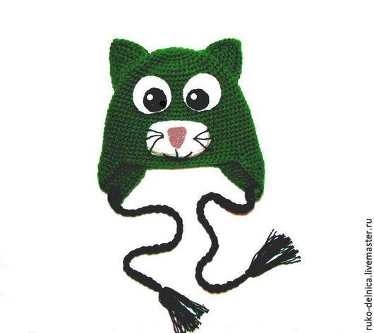"""Шапки и шарфы ручной работы. Ярмарка Мастеров - ручная работа. Купить Шапочка """"Кот"""" (детская шапка кот зимняя теплая вязаная зеленый). Handmade."""