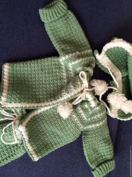 Для новорожденных, ручной работы. Ярмарка Мастеров - ручная работа. Купить Костюмчик вязаный для малыша. Handmade. Зеленый, Костюм вязаный