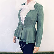Одежда handmade. Livemaster - original item Jacket with peplum beautiful mango color long sleeve. Handmade.