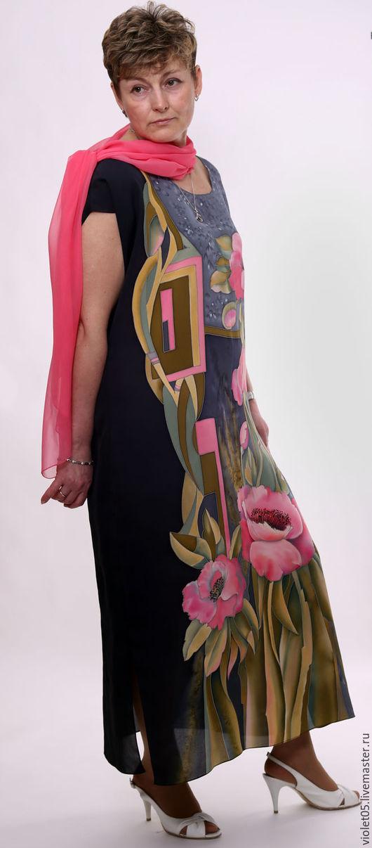 """Шали, палантины ручной работы. Ярмарка Мастеров - ручная работа. Купить Под Ваш размер -""""Марго"""" -Платье с коралловыми маками. Handmade."""