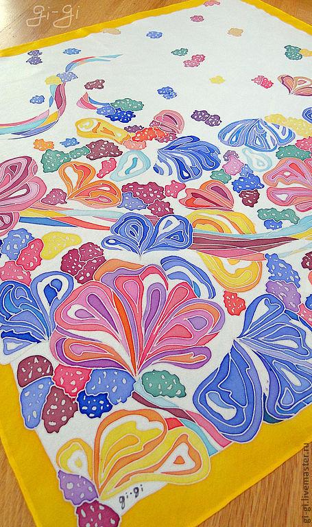 Шали, палантины ручной работы. Ярмарка Мастеров - ручная работа. Купить Симфония. Handmade. Батик, цветы, абстрактный