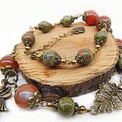 Украшения handmade. Livemaster - original item Beads with carnelian and unakite Waltz Boston. Beads with stones. Ethnic.. Handmade.