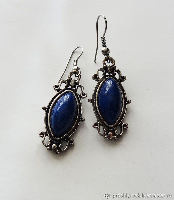 Blue stone earrings, Melchior 1970's, Vintage earrings, Moscow,  Фото №1
