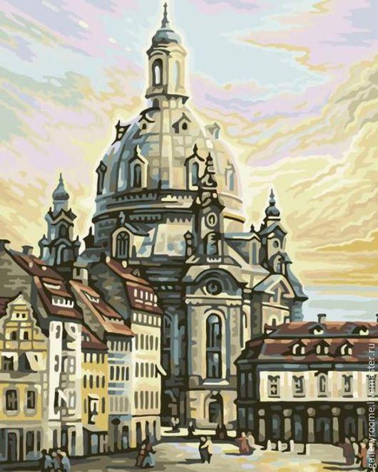 """Другие виды рукоделия ручной работы. Ярмарка Мастеров - ручная работа. Купить Картина по номерам """"Фрауэнкирхе (Церковь Богоматери) в Дрездене"""". Handmade."""