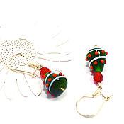 Украшения handmade. Livemaster - original item Christmas silver earrings 925 lampwork Herringbone Ave. Handmade.